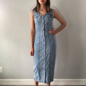 90's button front denim dress